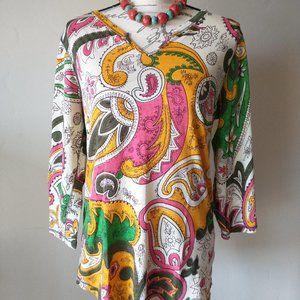 Lucky Brand Cotton Knit Top Paisley V-Neck